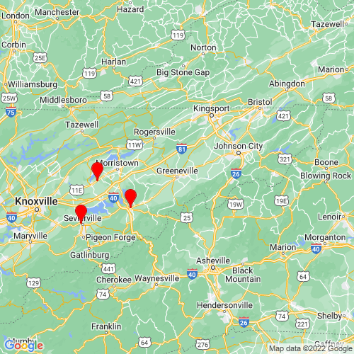 Map of Greeneville, TN