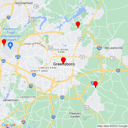 Map of Greensboro, NC