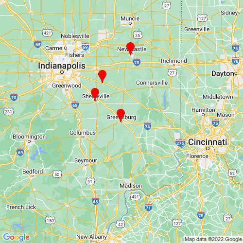Map of Greensburg, IN