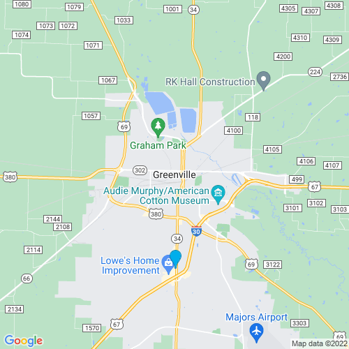 Map of Greenville, TX