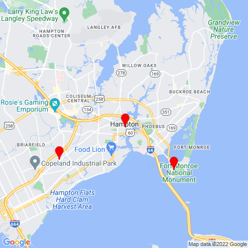 Map of Hampton, VA