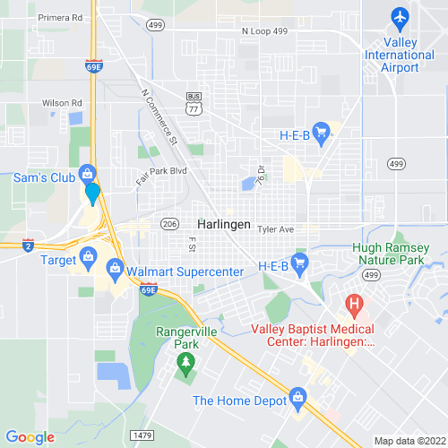 Map of Harlingen, TX