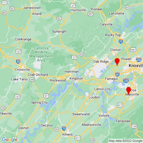 Map of Harriman, TN