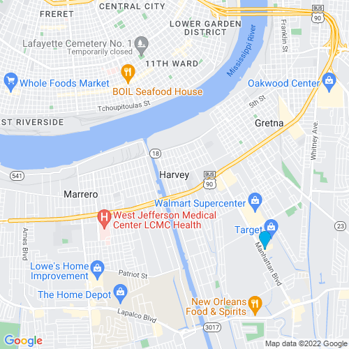 Map of Harvey, LA
