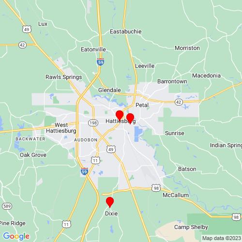Map of Hattiesburg, MS