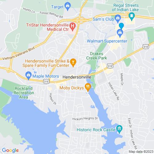 Map of Hendersonville, TN