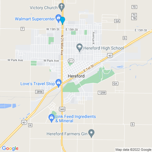 Map of Hereford, TX