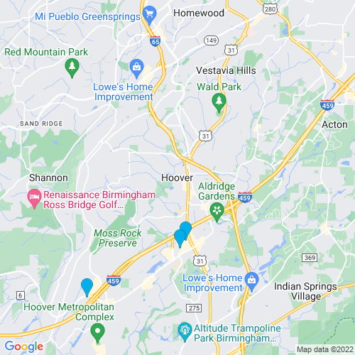 Map of Hoover, AL