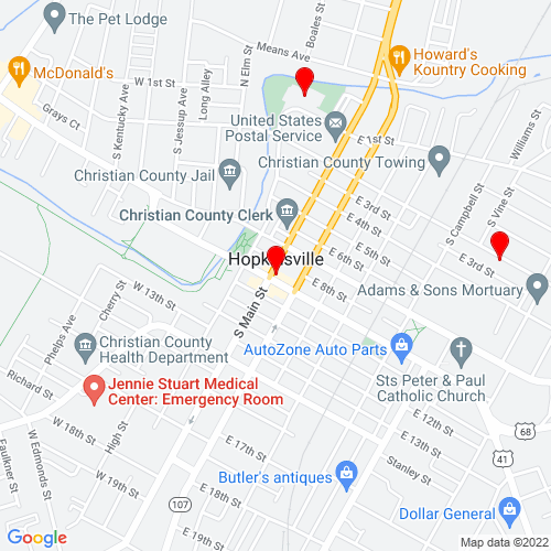 Map of Hopkinsville, KY