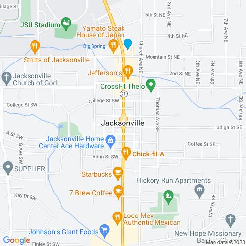 Map of Jacksonville, AL
