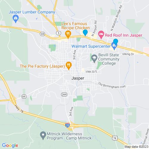 Map of Jasper, AL