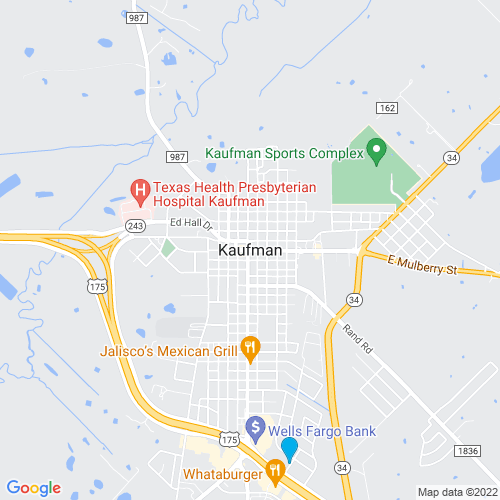 Map of Kaufman, TX