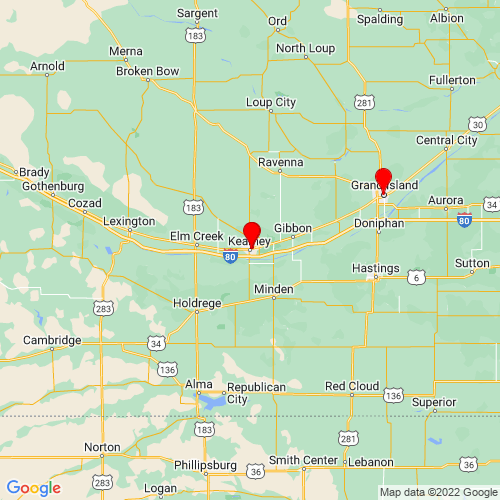 Map of Kearney, NE