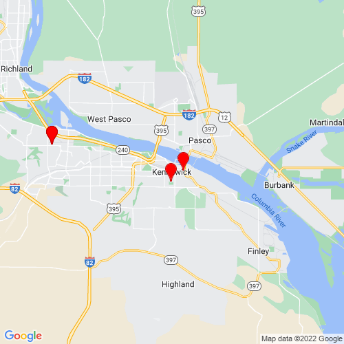 Map of Kennewick, WA