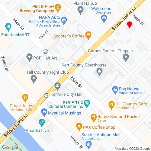 Map of Kerrville, TX