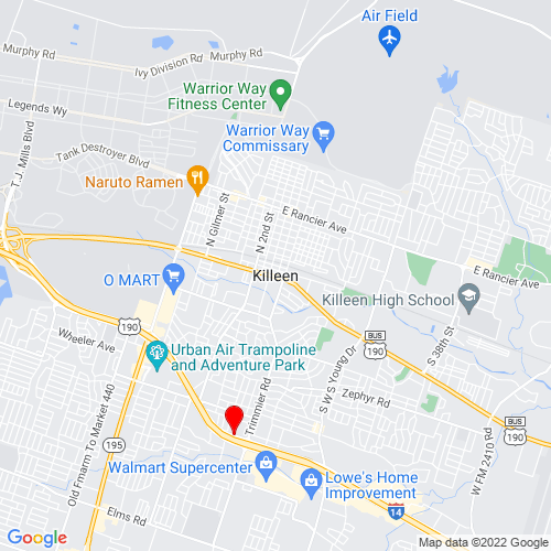 Map of Killeen, TX