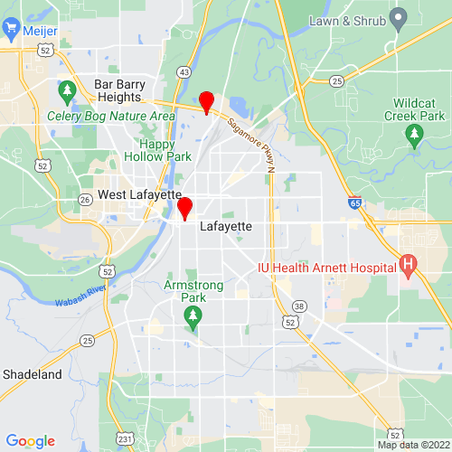 Map of Lafayette, IN