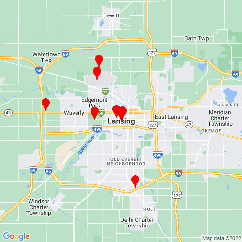 Map of Lansing, MI