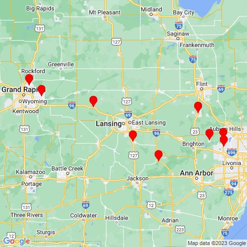 Map of Lansing, MI