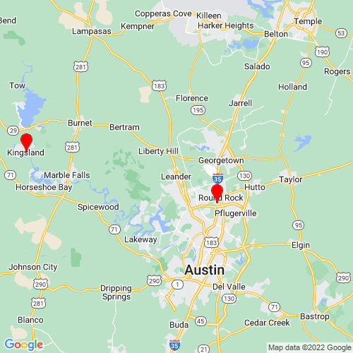 Map of Leander, TX
