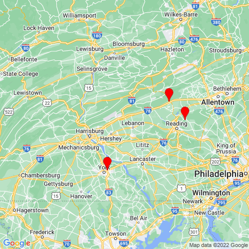 Map of Lebanon, PA