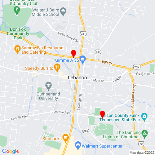 Map of Lebanon, TN