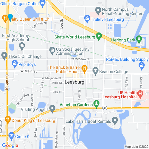 Map of Leesburg, FL