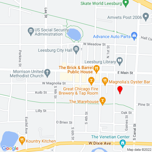 Map of Leesburg, FL