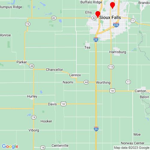 Map of Lennox, SD