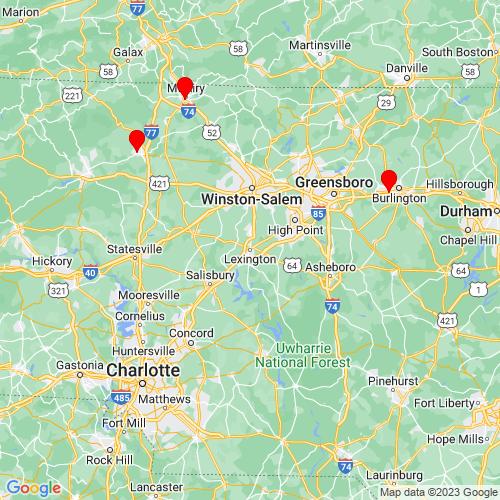 Map of Lexington, NC