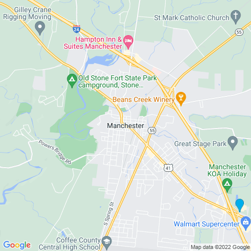 Map of Manchester, TN