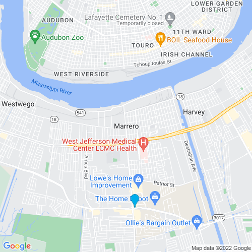 Map of Marrero, LA