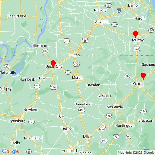 Map of Martin, TN