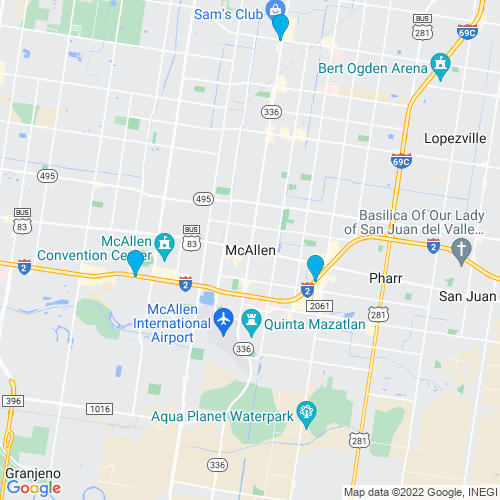 Map of Mcallen, TX