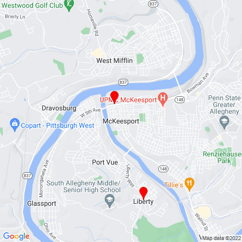 Map of Mckeesport, PA