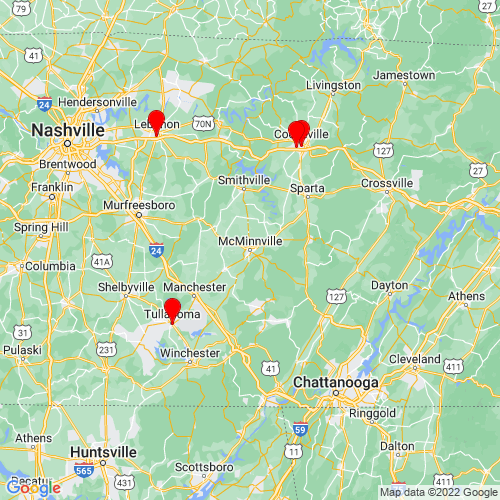 Map of Mcminnville, TN