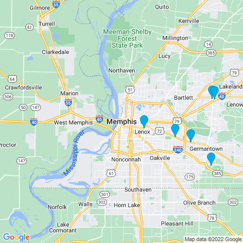 Map of Memphis, TN