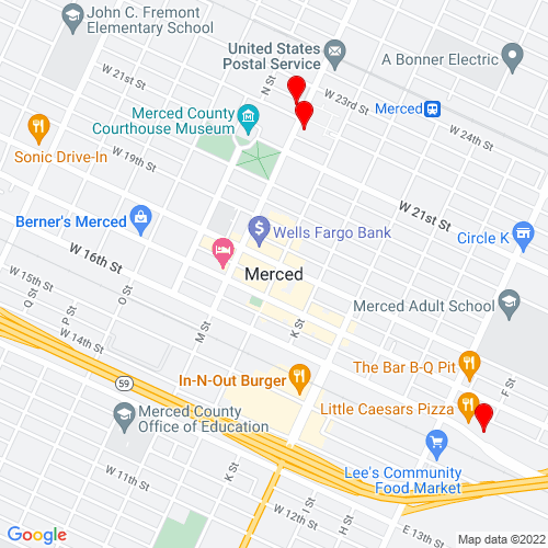 Map of Merced, CA