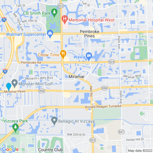 Map of Miramar, FL