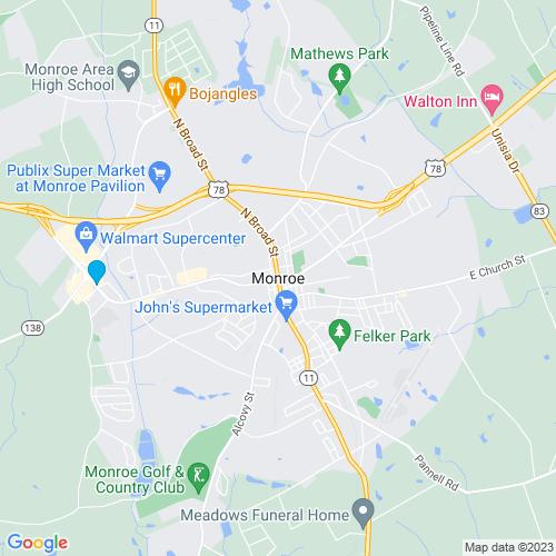 Map of Monroe, GA
