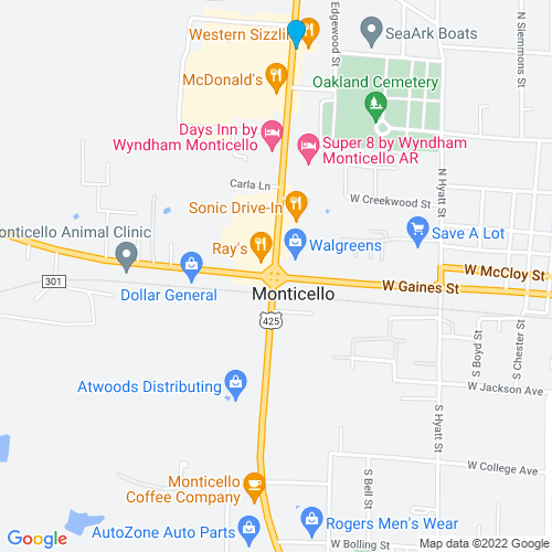 Map of Monticello, AR
