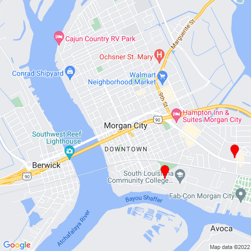 Map of Morgan City, LA