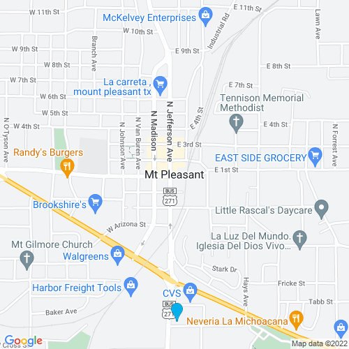 Map of Mount Pleasant, TX