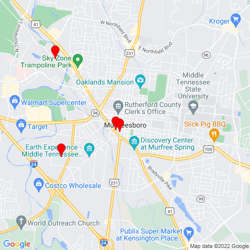 Map of Murfreesboro, TN
