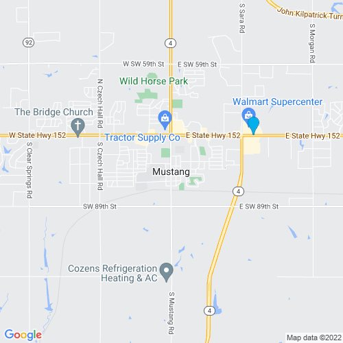 Map of Mustang, OK