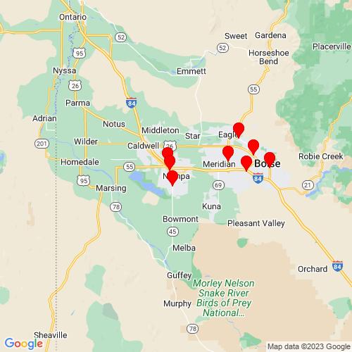 Map of Nampa, ID
