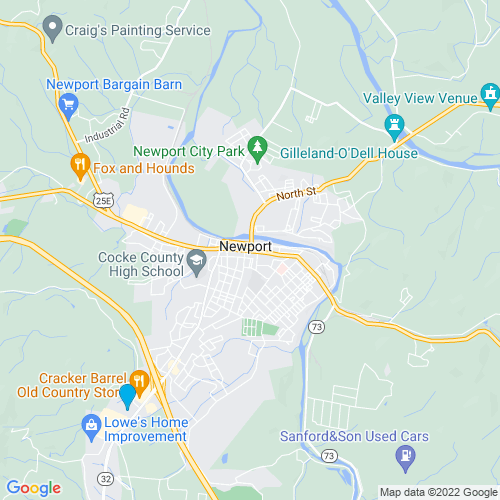 Map of Newport, TN