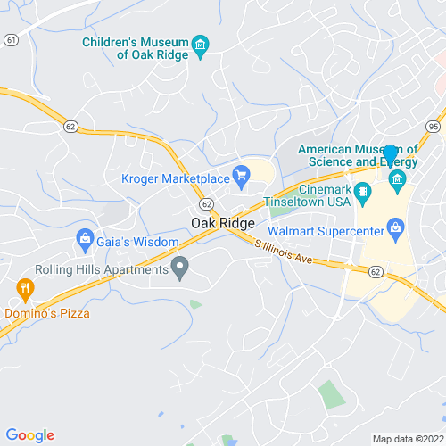 Map of Oak Ridge, TN