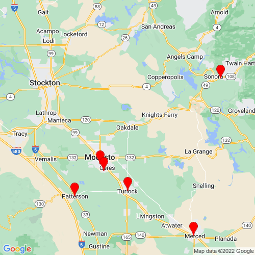 Map of Oakdale, CA