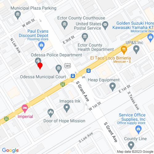 Map of Odessa, TX